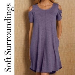 Soft surroundings cold shoulder swing dress small